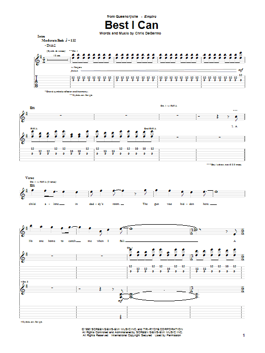Queensryche Best I Can sheet music notes and chords. Download Printable PDF.