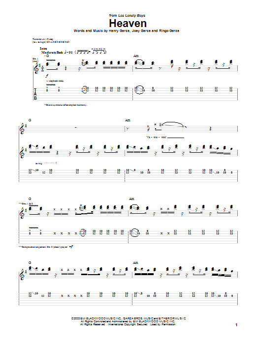 Los Lonely Boys Heaven sheet music notes and chords. Download Printable PDF.