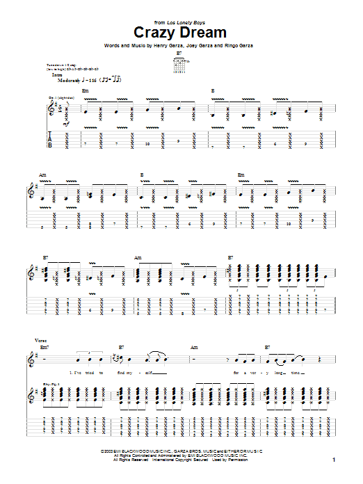 Los Lonely Boys Crazy Dream sheet music notes and chords. Download Printable PDF.
