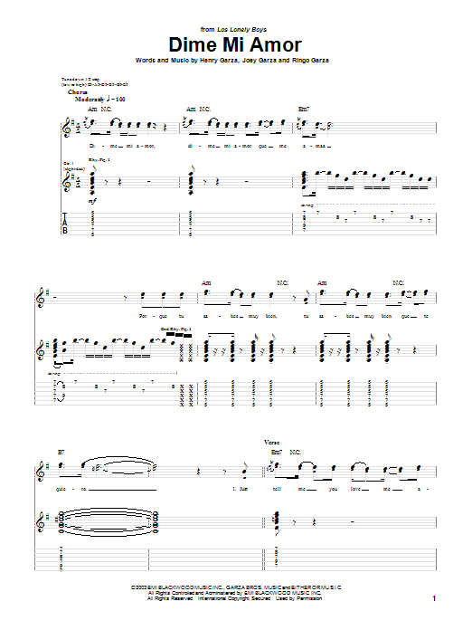 Los Lonely Boys Dime Mi Amor sheet music notes and chords. Download Printable PDF.
