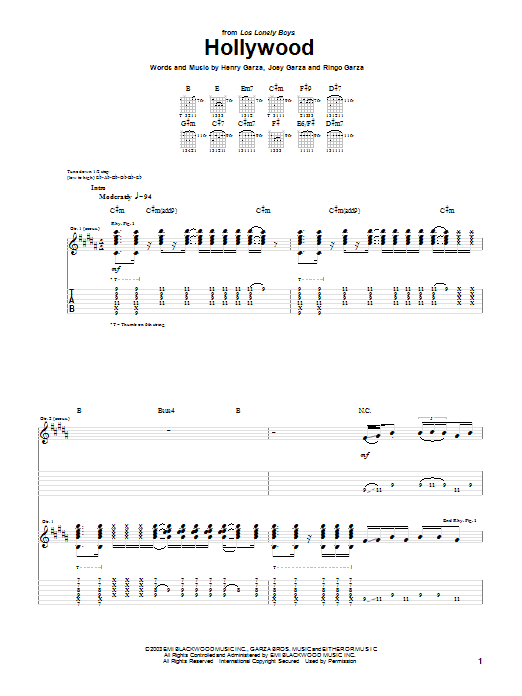 Los Lonely Boys Hollywood sheet music notes and chords. Download Printable PDF.