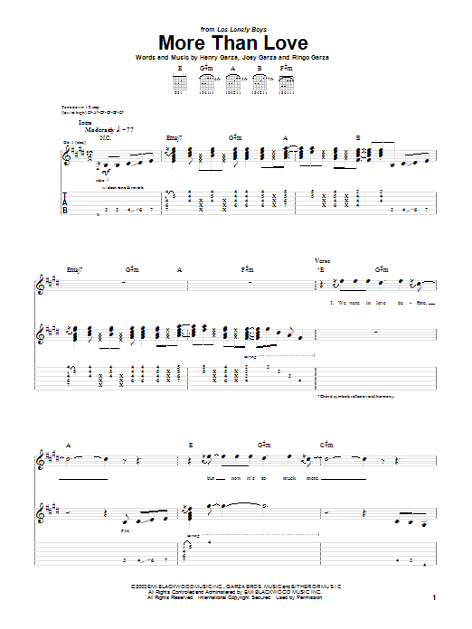 Los Lonely Boys More Than Love sheet music notes and chords. Download Printable PDF.