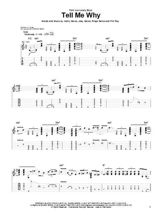Los Lonely Boys Tell Me Why sheet music notes and chords. Download Printable PDF.