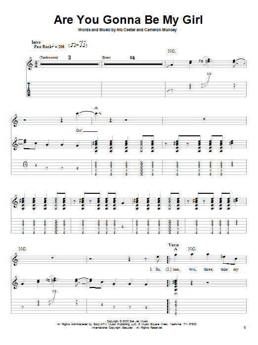 Jet Are You Gonna Be My Girl sheet music notes and chords. Download Printable PDF.