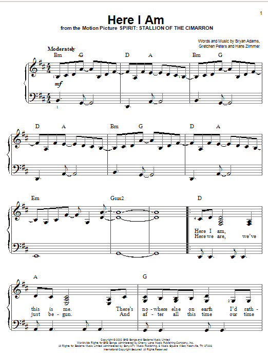 Bryan Adams Here I Am sheet music notes and chords. Download Printable PDF.