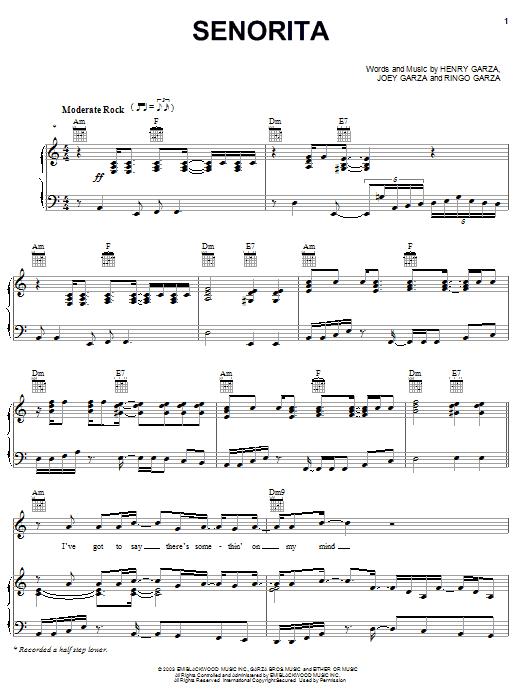 Los Lonely Boys 'Senorita' Sheet Music Notes, Chords | Download Printable  Piano, Vocal & Guitar (Right-Hand Melody) - SKU: 30271