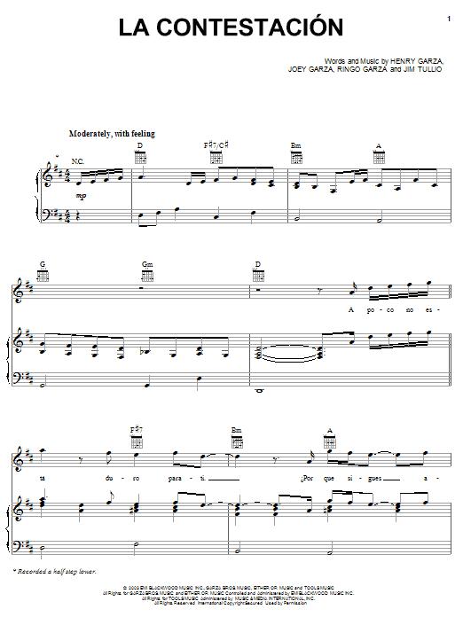 Los Lonely Boys La Contestacion sheet music notes and chords. Download Printable PDF.