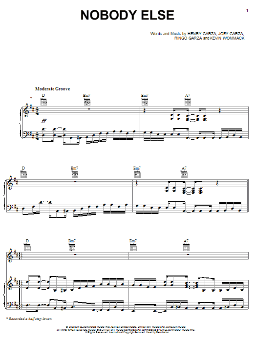 Los Lonely Boys Nobody Else sheet music notes and chords. Download Printable PDF.