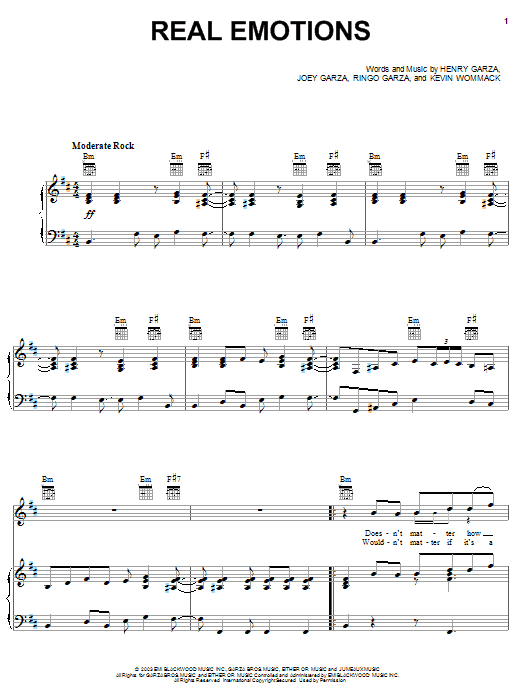 Los Lonely Boys Real Emotions sheet music notes and chords. Download Printable PDF.
