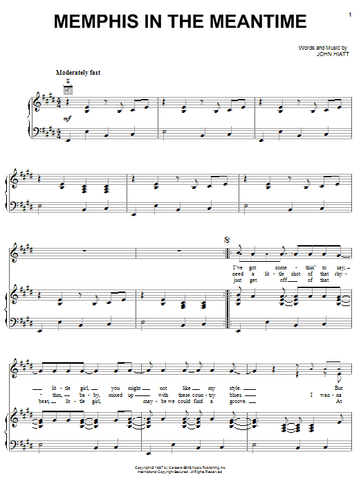 John Hiatt Memphis In The Meantime sheet music notes and chords. Download Printable PDF.