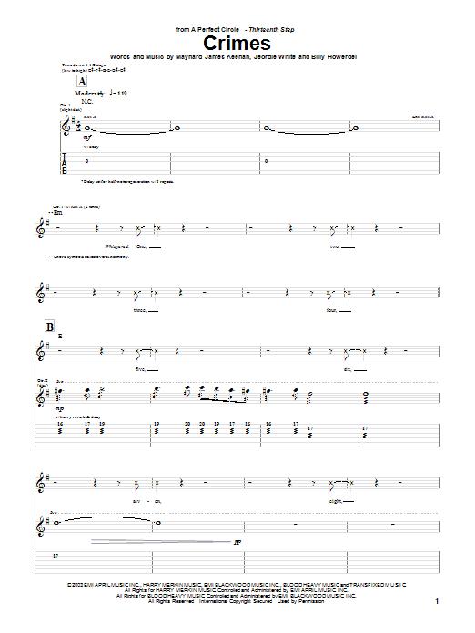A Perfect Circle Crimes sheet music notes and chords. Download Printable PDF.