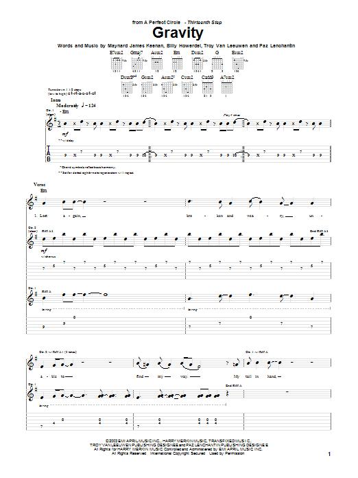 A Perfect Circle Gravity sheet music notes and chords. Download Printable PDF.