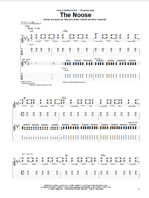 A Perfect Circle The Noose sheet music notes and chords. Download Printable PDF.