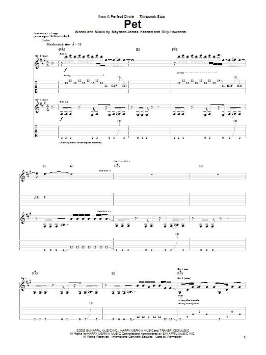 A Perfect Circle Pet sheet music notes and chords. Download Printable PDF.