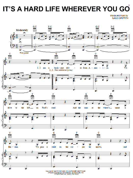 Nanci Griffith It's A Hard Life Wherever You Go sheet music notes and chords. Download Printable PDF.