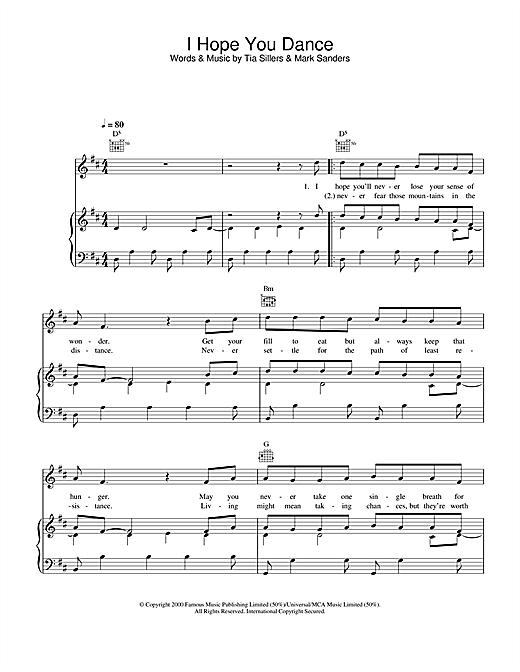 Ronan Keating I Hope You Dance sheet music notes and chords. Download Printable PDF.