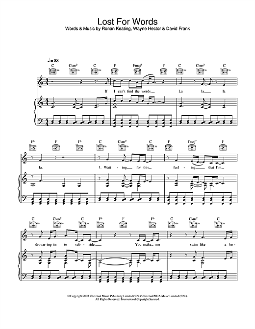 Ronan Keating Lost For Words sheet music notes and chords. Download Printable PDF.