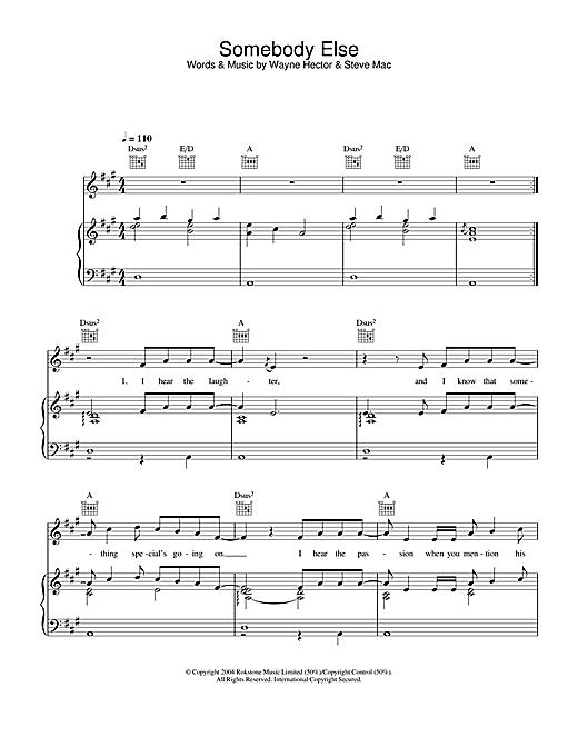 Ronan Keating Somebody Else sheet music notes and chords. Download Printable PDF.