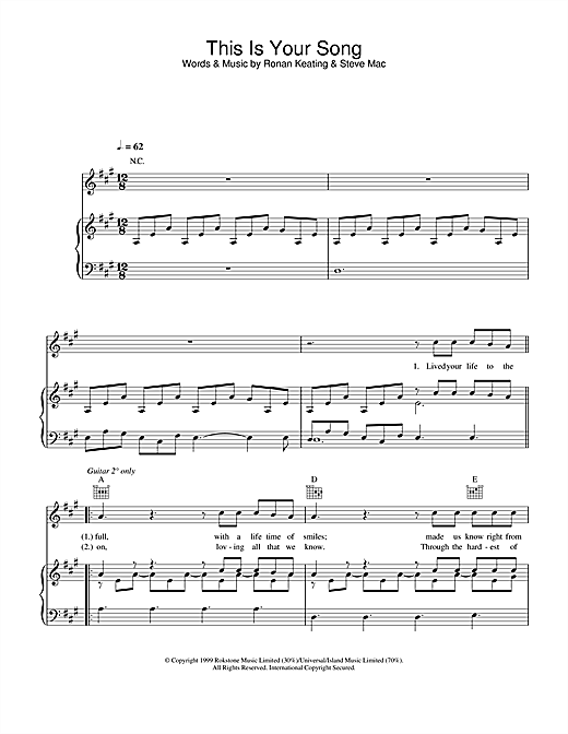 Ronan Keating This Is Your Song sheet music notes and chords. Download Printable PDF.