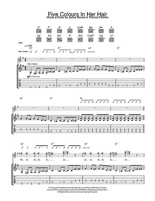 McFly Five Colours In Her Hair sheet music notes and chords. Download Printable PDF.