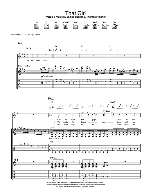 McFly That Girl sheet music notes and chords. Download Printable PDF.