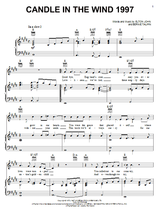 Elton John Candle In The Wind 1997 sheet music notes and chords. Download Printable PDF.