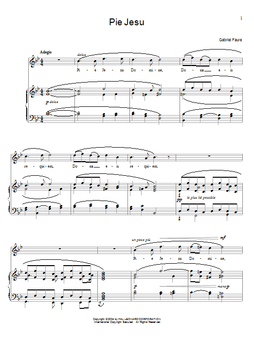 Gabriel Fauré Pie Jesu sheet music notes and chords. Download Printable PDF.
