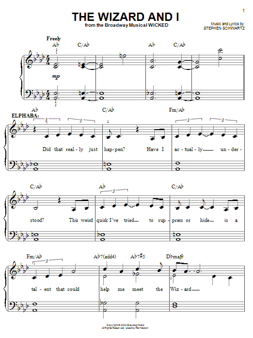 Stephen Schwartz The Wizard And I sheet music notes and chords. Download Printable PDF.
