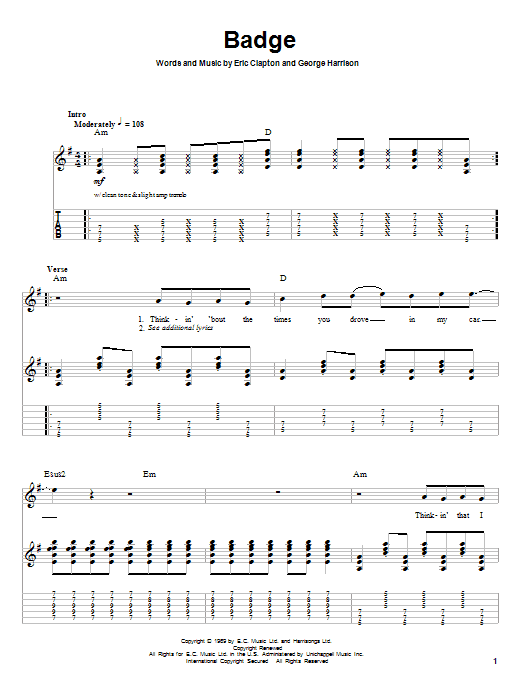 Cream Badge sheet music notes and chords. Download Printable PDF.