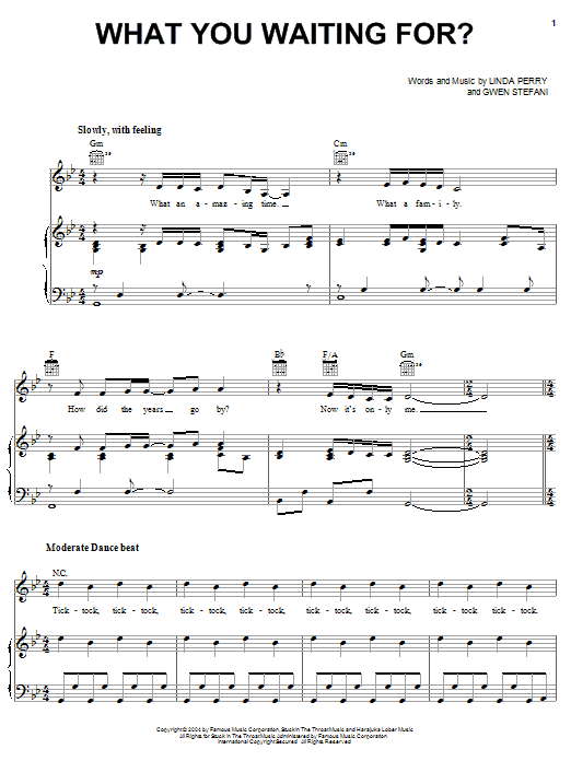 Gwen Stefani What You Waiting For? sheet music notes and chords. Download Printable PDF.