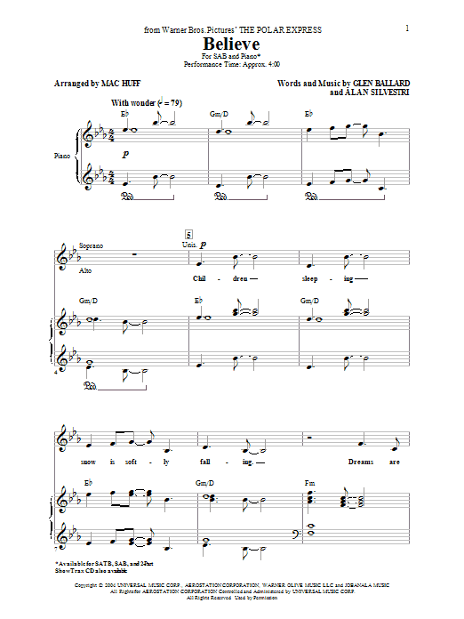 Josh Groban Believe (from The Polar Express) (arr. Mac Huff) sheet music notes and chords. Download Printable PDF.