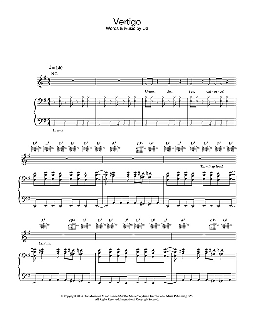 U2 Vertigo sheet music notes and chords. Download Printable PDF.
