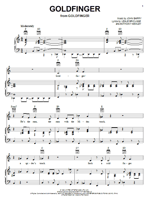 Shirley Bassey Goldfinger sheet music notes and chords. Download Printable PDF.
