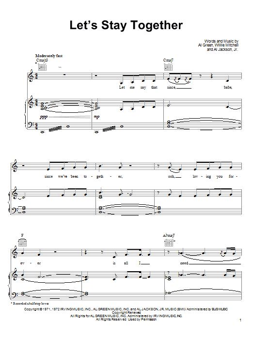 Tina Turner Let's Stay Together sheet music notes and chords. Download Printable PDF.