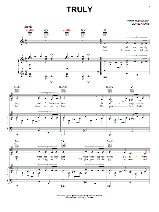 Lionel Richie Truly sheet music notes and chords. Download Printable PDF.