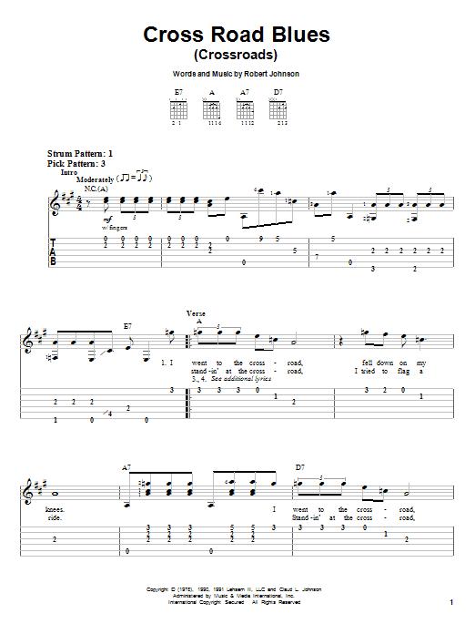 Robert Johnson Cross Road Blues (Crossroads) sheet music notes and chords. Download Printable PDF.