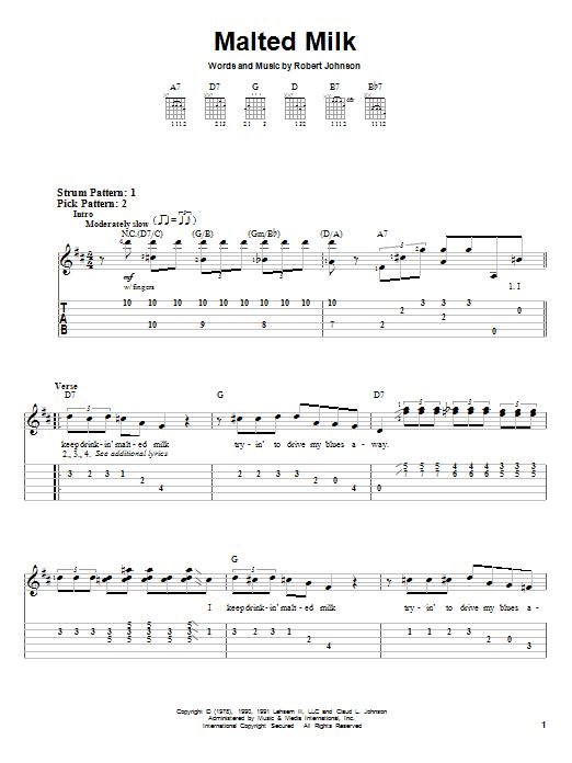Robert Johnson Malted Milk sheet music notes and chords. Download Printable PDF.