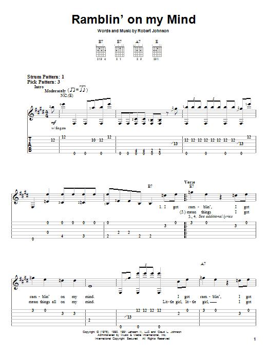 Robert Johnson Ramblin' On My Mind sheet music notes and chords. Download Printable PDF.
