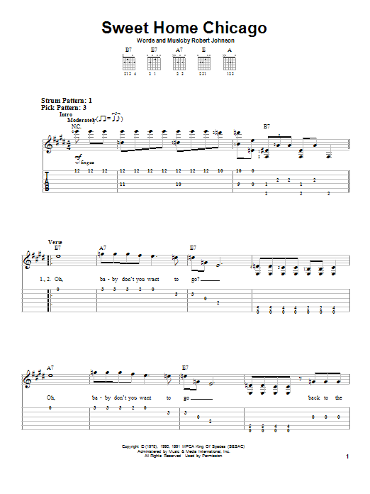 Robert Johnson Sweet Home Chicago sheet music notes and chords. Download Printable PDF.
