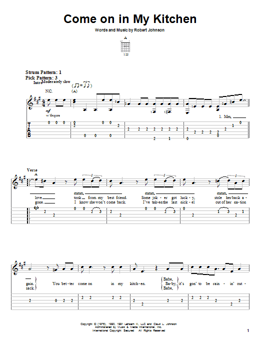 Robert Johnson Come On In My Kitchen sheet music notes and chords. Download Printable PDF.