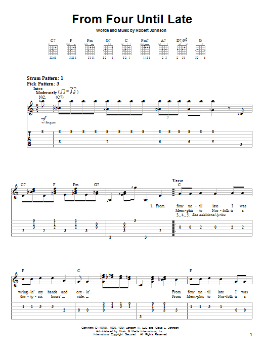 Robert Johnson From Four Until Late sheet music notes and chords. Download Printable PDF.