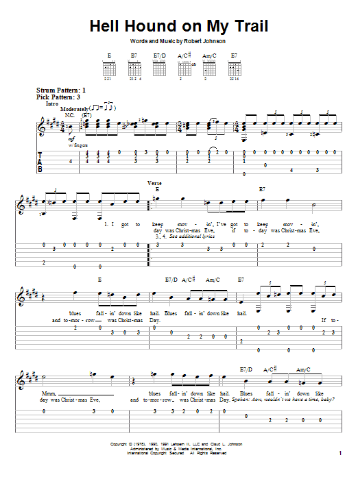 Robert Johnson Hell Hound On My Trail sheet music notes and chords. Download Printable PDF.