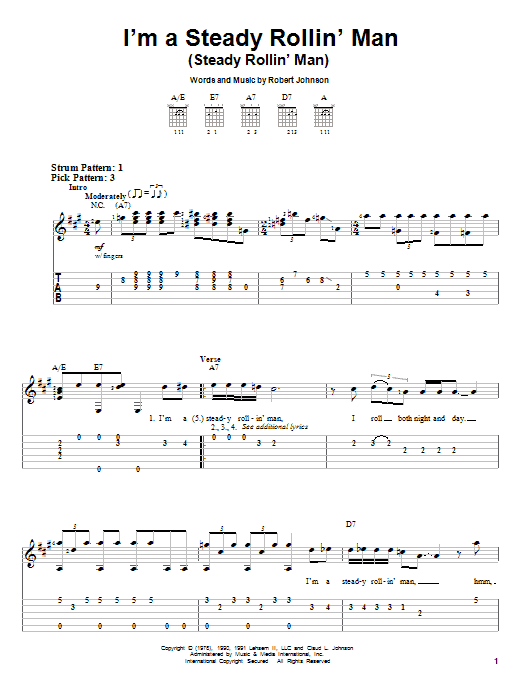 Robert Johnson I'm A Steady Rollin' Man (Steady Rollin' Man) sheet music notes and chords. Download Printable PDF.