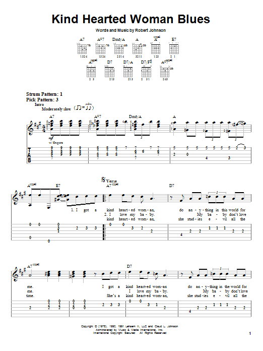 Robert Johnson Kind Hearted Woman Blues sheet music notes and chords. Download Printable PDF.