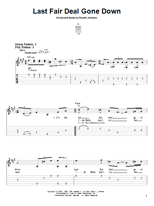 Robert Johnson Last Fair Deal Gone Down sheet music notes and chords. Download Printable PDF.