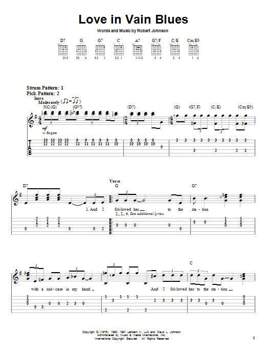 Robert Johnson Love In Vain Blues sheet music notes and chords. Download Printable PDF.