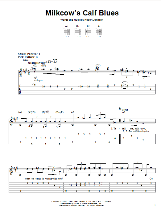Robert Johnson Milkcow's Calf Blues sheet music notes and chords. Download Printable PDF.