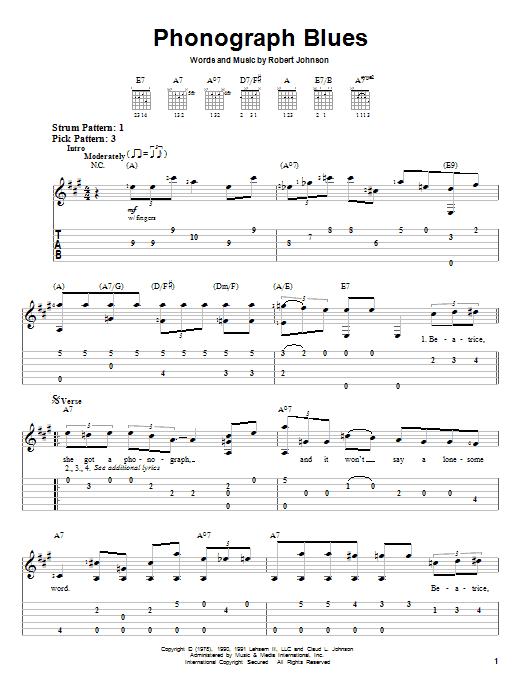 Robert Johnson Phonograph Blues sheet music notes and chords. Download Printable PDF.