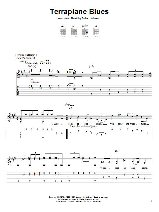 Robert Johnson Terraplane Blues sheet music notes and chords. Download Printable PDF.