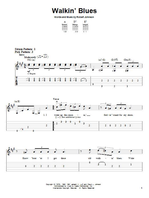 Robert Johnson Walkin' Blues sheet music notes and chords. Download Printable PDF.